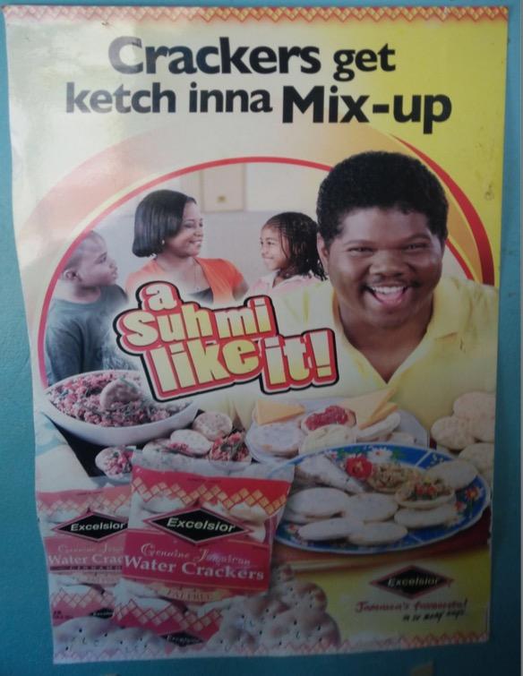 Dieses Plakat bewirbt einen Snack (YS Falls, Saint Elizabeth Parish)